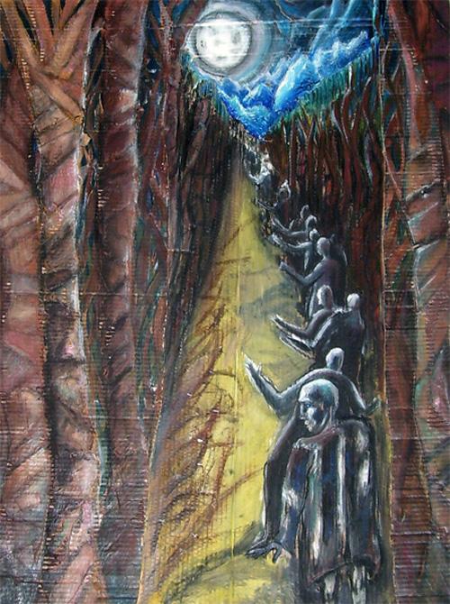 La fuite (2007) Acrylique, pastels à l'huile, fusain et marouflage sur carton