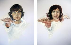Distance (2010)  Toiles (Acrylique, gouache et fusain sur carton, 2' x 3') installées vis à vis sur deux murs à distance.