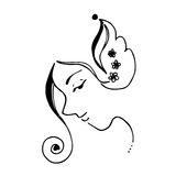 visage-de-femmes-et-ligne-art-black-de-courbe-d-illustration-de-fleurs-et-blanc-abstraits-63039501